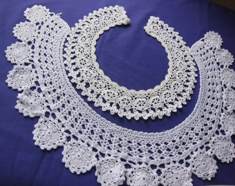 Vintage FRENCH lace  collars, lot 2 handmade, vintage dressmaking, vintage lace trim, vintage dressmaking,  country cloths