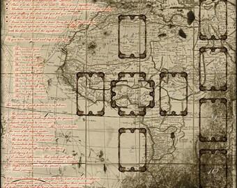 Silk Cloth - Vintage Map Tarot Spread - poker size deck - NEW 100% silk crepe de chine