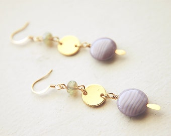 Long Modern Dangle Earrings Czech Glass  -  Lavender Pistachio