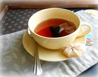 Fake Tea in a Teacup With a Teabag, Spoon and a Cookie Photo Prop Home Staging