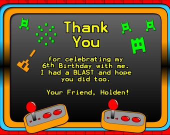 Video Game Thank You Card. Video Game Party Digitial Thank You. DIY Party Thank You. Arcade Printable Thank You