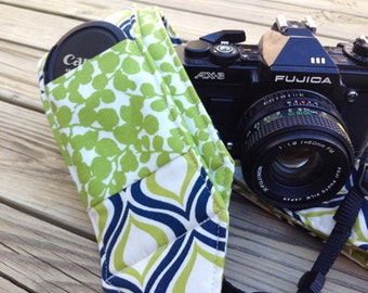 Ready To Ship Extra Long Wide Camera Strap for DSL camera Navy, Lime and White With Lens Cap Pocket No Monogram
