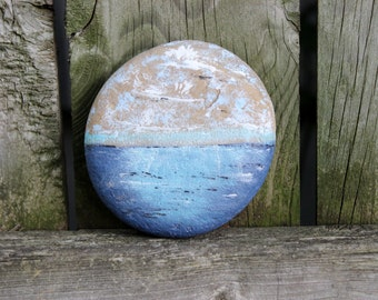 Painted Beach Stone Paperweight , Coastal Cottage Home Decor , Unique beach house accent