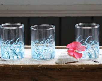 Hand Painted Coastal Wave Candle Holders , Set of 3 Beach House Decoration