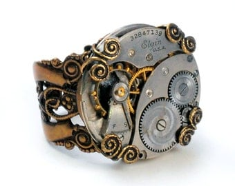 1930 Elgin Watch Movement Steampunk Ring