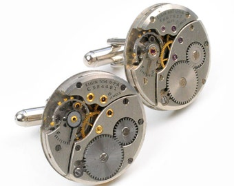 Steampunk Antique 1940's Elgin Watch Movement Cuff Links