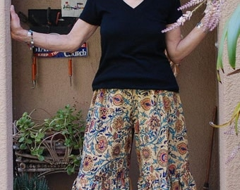 "Hippie Gypsy Pants-Taupe Blue Floral-Length 40""- Hips 45""-woman's Hippie clothes-read measurements"