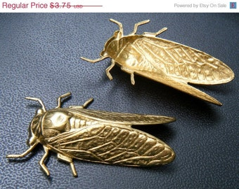 Cicada Stampings 2 Raw Brass pieces 49mm x 30mm