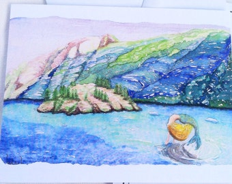 Alaska mermaid watercolor illustration flat note card