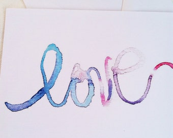 Love hand painted watercolor illustration flat note card