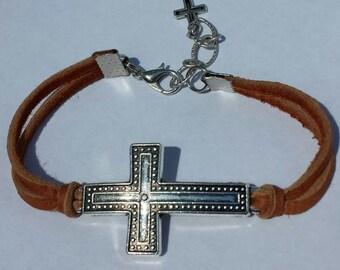 Genuine Deerskin Leather Lace Natural Brown Silver Adjustable Cross Bracelet