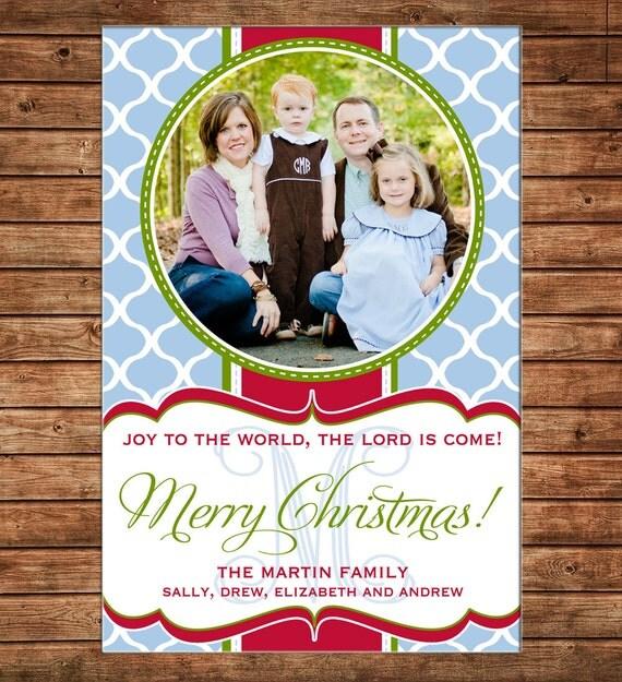 Photo Picture Christmas Holiday Card Mod Modern Clover Print Monogram - Digital File