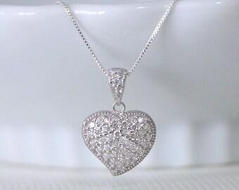 Sterling Silver CZ Heart Pendant Necklace, Sterling Silver Heart Necklace, Silver Heart Necklace