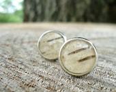 Birch Bark Earrings - Rustic Stud Earrings - Woodland Wedding Bridesmaids Jewelry - Ivory Earrings - Birch Bark Jewelry - Nature Jewelry