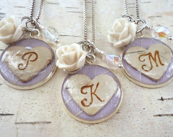 Personalized Lavender Bridesmaids Jewelry, Rustic Birch Bridesmaids Necklace, Birch Bark Heart Monogram Initial Necklace, Valentine's  Day