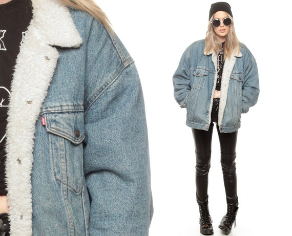 Levi Denim Jacket FAUX SHEARLING Jacket 80s Jean by ShopExile