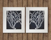 White Coral on Navy Linen Background - 2 Mirror 8x10 Instant Digital Download Prints - Nursery, Home Decor, Wall Art - Set #1