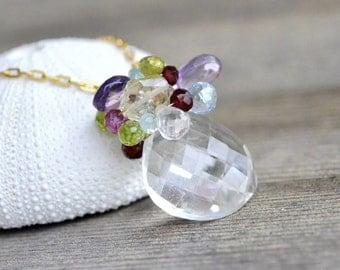 Gemstone Bouquet Necklace - Huge Crystal Quartz Heart Briolette - multi gemstones - 14k gold filled, amethyst, topaz, garnet, lemon quartz