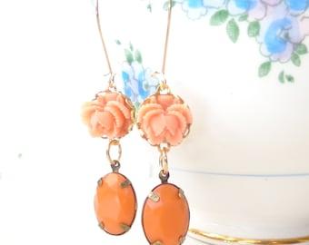 Vintage Jewel Flower Earrings - Orange Rhinestone - Ruffled Rose - Bride - Autumn - Fall