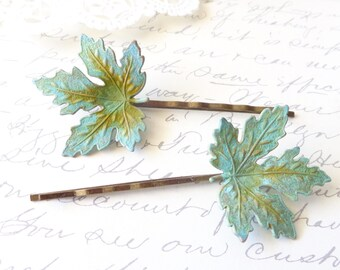 Verdigris Leaf Hair Pin Set - Maple Leaf Bobby Pin - Woodland Collection - Whimsical - Nature - Bridal - Patina