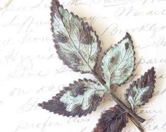 Leaf Branch Hair Pin - Verdigris - WoodlandLeaf Bobby Pin - Whimsical - Nature - Bridal Hair Pin - Patina Leaf - Woodland Hair Accessory
