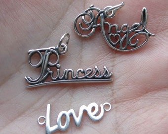 Sterling Silver Love,Angel or Princess Charm(one charm)You choose which charm