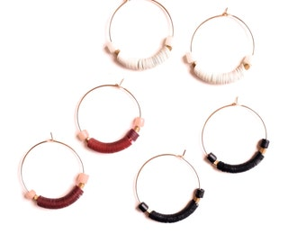 Tiny Portal Earrings - Vintage sequin and hand formed gold filled hoops