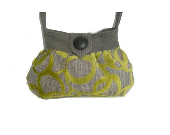Modern Pleated Bag - Tote  in Lime and Gray  by J Souza - ref Li3
