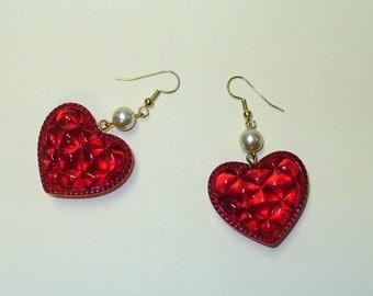 Vintage Red Heart Earrings DEADSTOCK