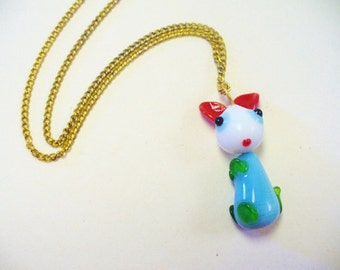 Vintage Glass Kitty Cat Necklace DEADSTOCK