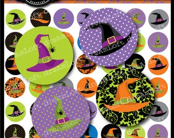 Halloween Witches' Hats 1 Inch Round Circles Instant Download