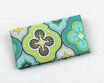 Fabric Checkbook Cover with Pen Holder for Duplicate Checks - Aqua Blue and Yellow Tile Designs Venetian or Moroccan