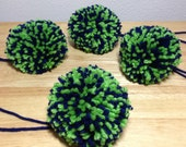 Seattle Seahawks Style Yarn Pom Poms Blue Green for Beanies Hats Shoes Clothing Lot of 4 Large