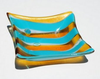 Wavy Striped Turquoise, White and Irridized Amber Square Bowl with lght blue accents