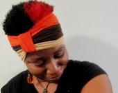 Color Block Turban Headband In Orange-Brown-Tan - Select  Your Size - SKU: RW619