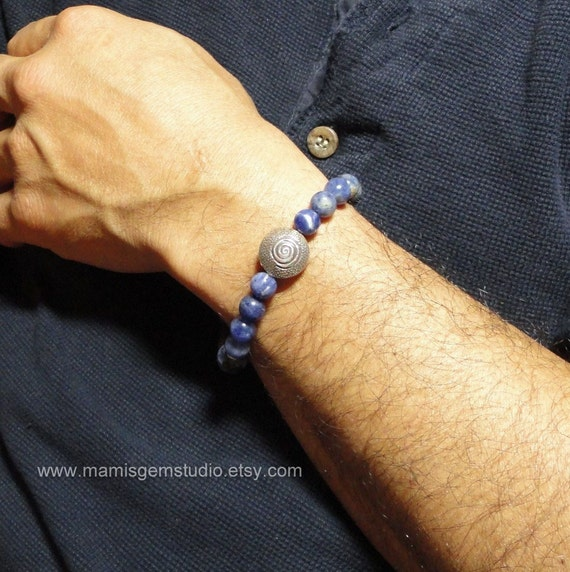 Mens Bracelet, Sodalite with Thai Hill Tribe Silver, Natural Blue Stone Beaded Bracelet, Jewelry for Men, Guys, Dad, Him