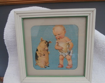 Nursery Framed Picture  Mad Baby  with Guilty Little Piggy,  who Drank  All the Milk Nursery Print