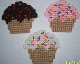 3 Handmade Cupcake Magnets