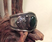 Tribal silver cuff bracelet -- old Kuchi jewelry -dark green stone -- heavy patina( FREE SHIPPING SALE)