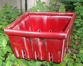 ceramic berry basket, strawberry basket, rustic oxblood red, farmers market, go green, carry your own packaging