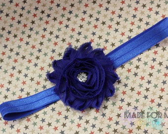 ROYAL BLUE HEADBAND, Shabby Flower, Elastic Headband; Newborn Headband, toddler Headband, baby Headband, photo prop, july 4th headband, foe