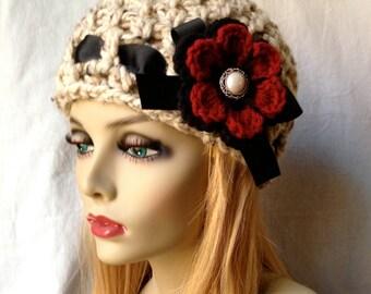 Fashion Crochet Womens Hat, Beanie, Oatmeal, Very Soft Chunky Wool, Flower, Warm, Teens, Gift for her, Winter, Ski Hat JE808B3