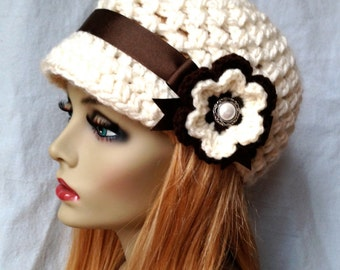 Crochet Newsboy Womens Hat, Teens Girls, Cream, Off White, Soft Chunky, Brown Ribbon, Flower, Gifts for Teens, Birthday Gifts JE505NFR