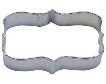 "Rectangle 4.25"" Plaque or Frame cookie cutter quatrefoil design R"