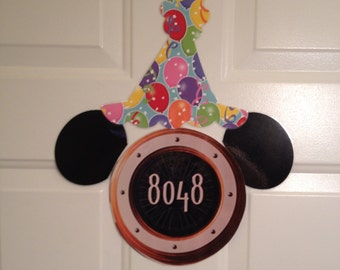 Mickey Mouse Birthday Hat and Ears Only Body Part Stateroom Door Magnets for Disney Cruise