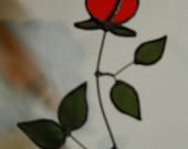 A Red Rosebud Stained Glass Window Hanging Sun Catcher Forever Rose