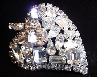 1960's Vintage Brooch, Diamente Round, Emerald, Marque & Baguette, Silvertone