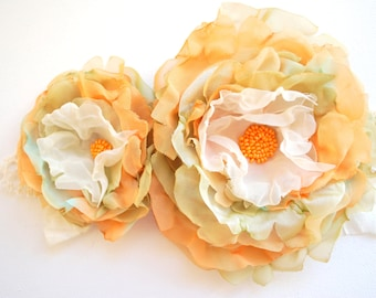 pastel orange moss green chiffon flowers, brooch, weddings accessory, bridal hair clip, bridesmaids, flower girls, bridal headpiece, autumn