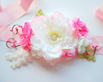 White Pink Peony Weddings Accessories, White Peony Bridal Flower Sash Belt, Bridal Bridesmaids Headpiece, Photo Prop, Spring Wedding