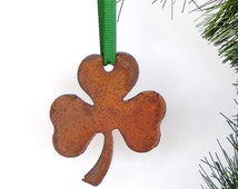 Rustic Shamrock Ornament by WATTO Distinctive Metal Wear/ 3 Leaf Clover Decor/ Metal Shamrock / St. Patrick's Day / Irish / Celtic/Good luck